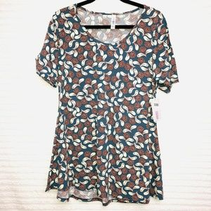 LulaRoe Perfect T Blue Coral White Floral